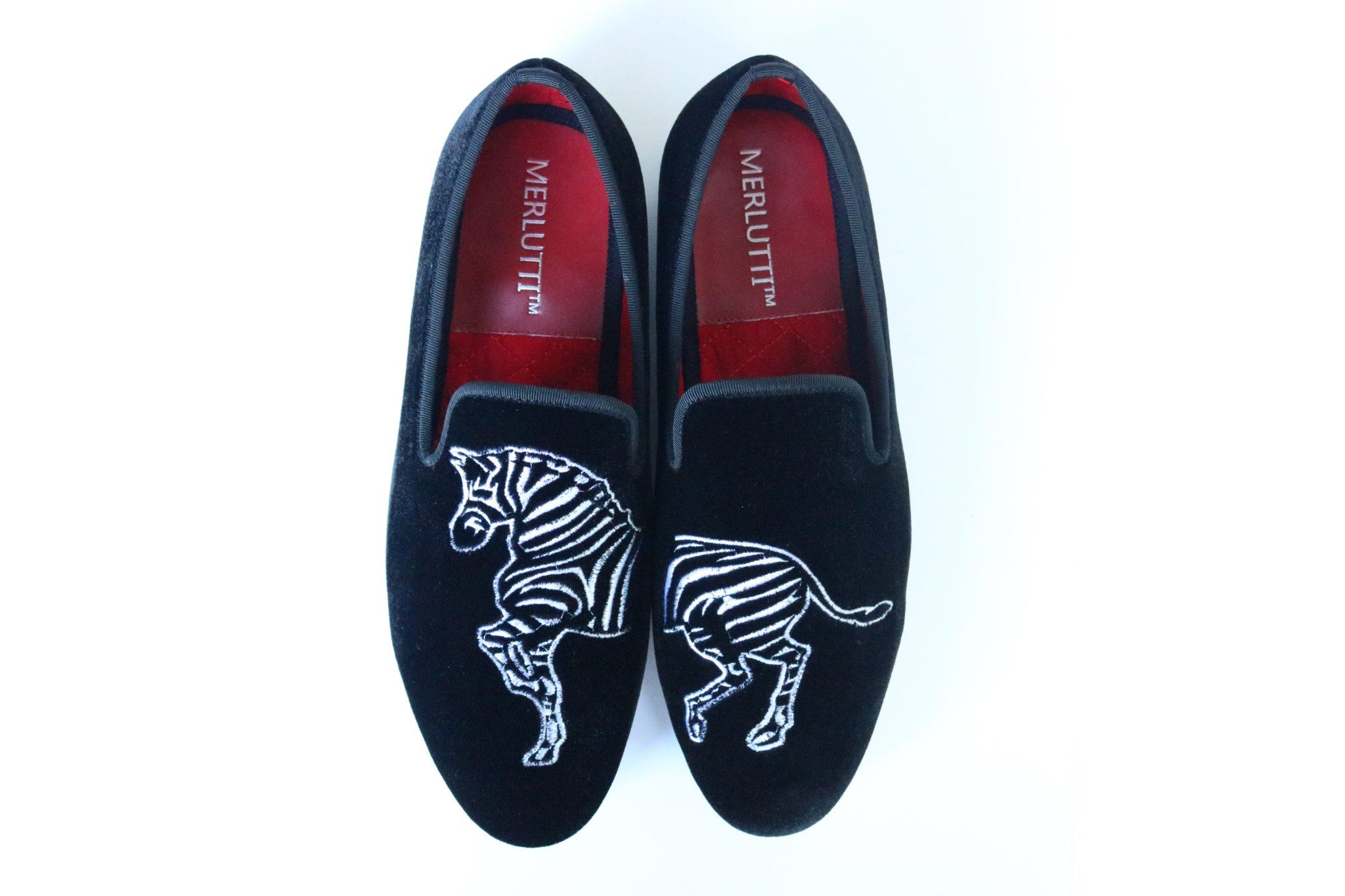 Handmade Black Velvet Loafers Zebra Embroidered