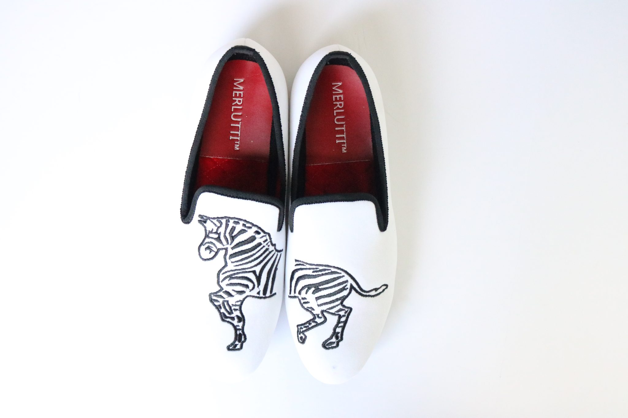 Handmade White Velvet Loafers Zebra Embroidered