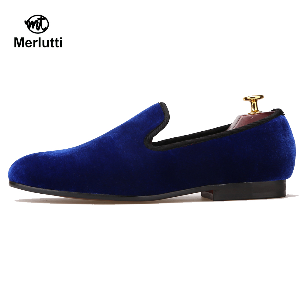 Plain Royal Blue Velvet Flat