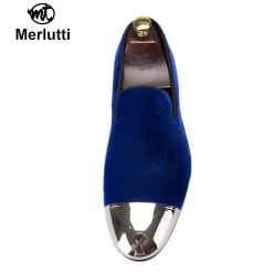 Royal Blue Velvet Silver Metal Toe