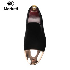 Black Velvet Gold Metal Toe