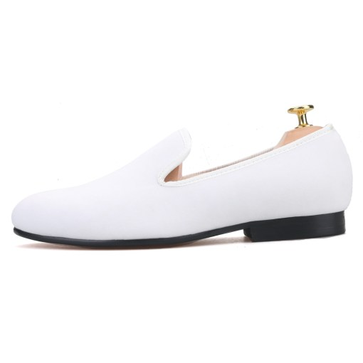 Plain White Velvet Loafer