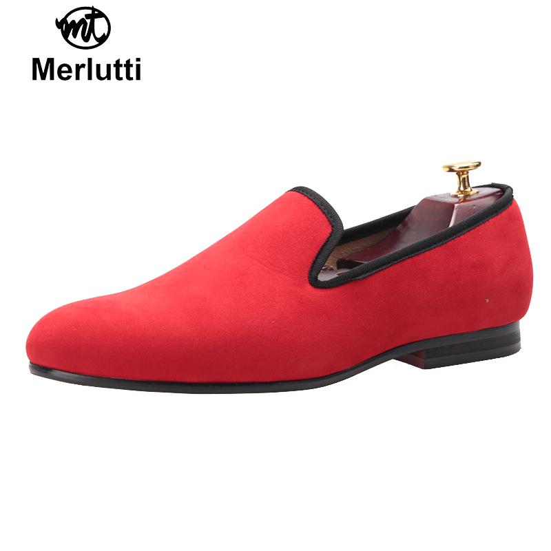 Plain Red Velvet Loafers