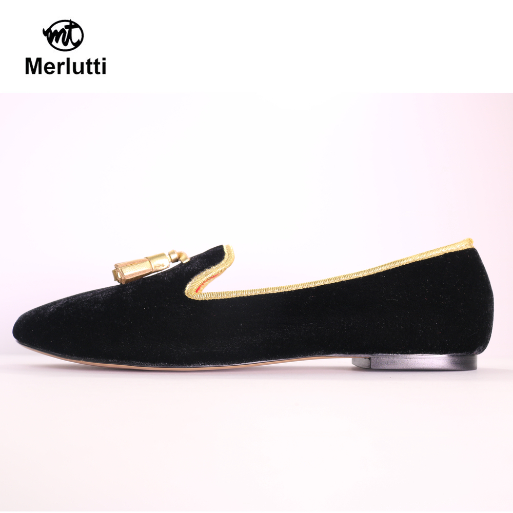 Women Black Velvet Gold Tassel