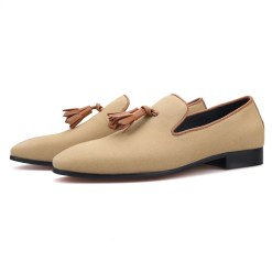 Brown Pompon Khaki Casual Loafers