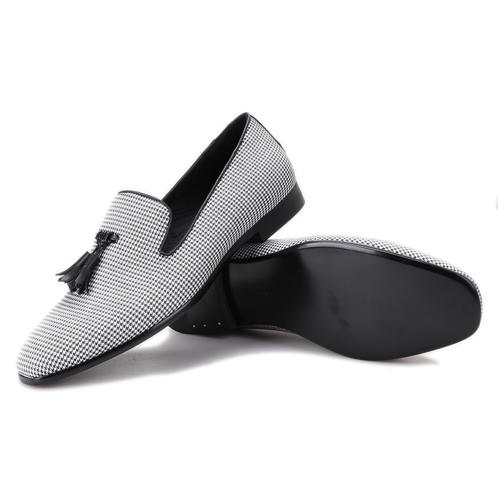 Black Pompon Grey Casual Loafers