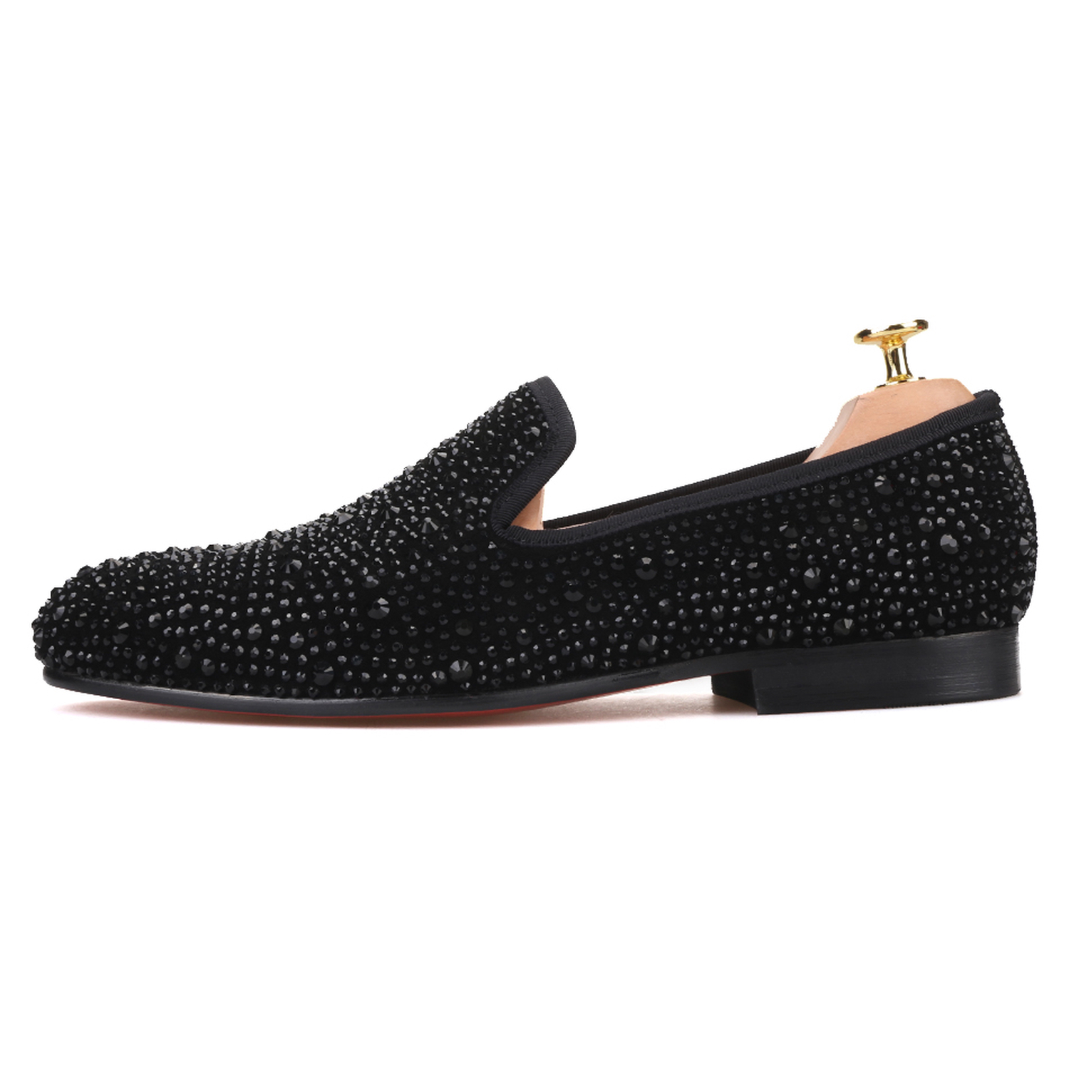 2fd52491cbb Black Crystals Suede Loafers - Merlutti