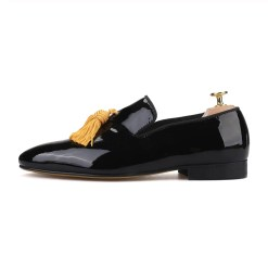 Black Patent Big Yellow Tassel Loafer