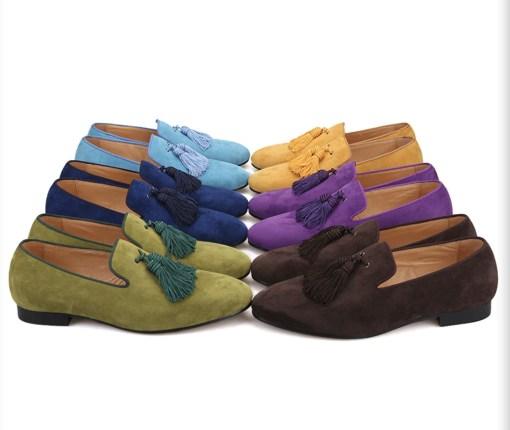 Big Tassel Suede Custom Green Loafer