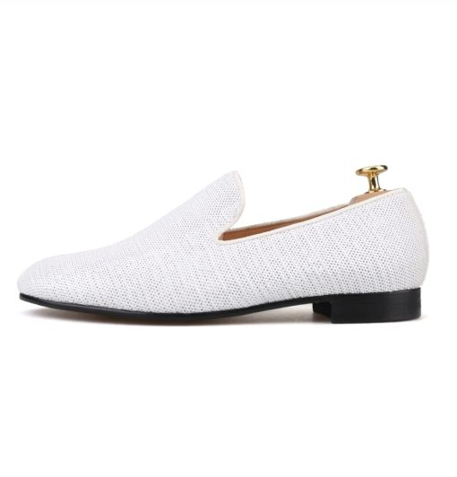Custom White Loafer Prom Wedding Flat