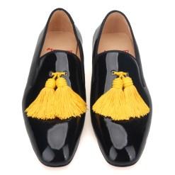 Black Patent Big Yellow Tassel Loafer