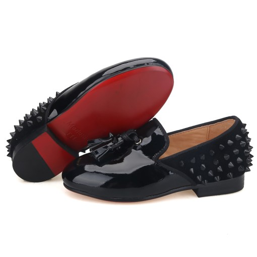 Black Patent Studded Tassel Kids Loafers