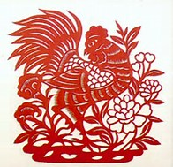 Rooster paper cut