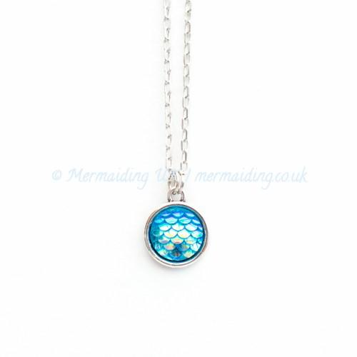 Aqua Blue mermaid scale necklace | Mermaiding UK | mermaiding.co.uk