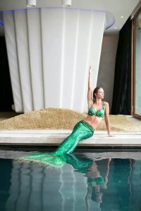 Mermaid entertainer Kat performing at Iniala Resort in Thailand