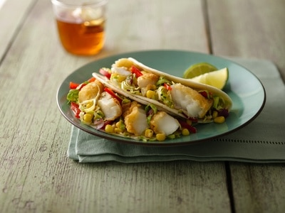 Fish Tacos with Mango Salsa via @mermaidsandmojitos