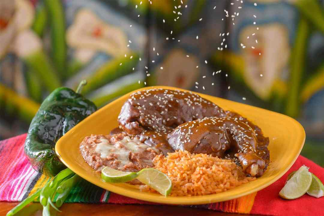 Chicken Mole Famous Mexican Sauce made with chocolate, nuts, chilies and spices.