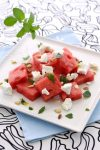 Greek watermelon feta cheese salad with mint