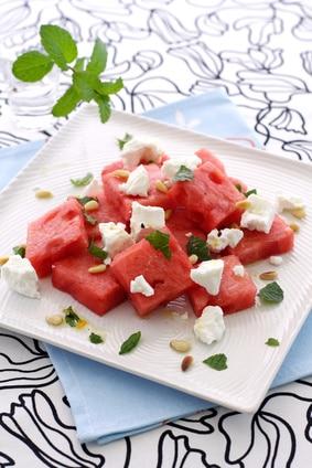 Greek watermelon feta cheese salad with mint