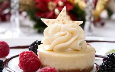 White Chocolate Cheesecake with Blackberries and Raspberries