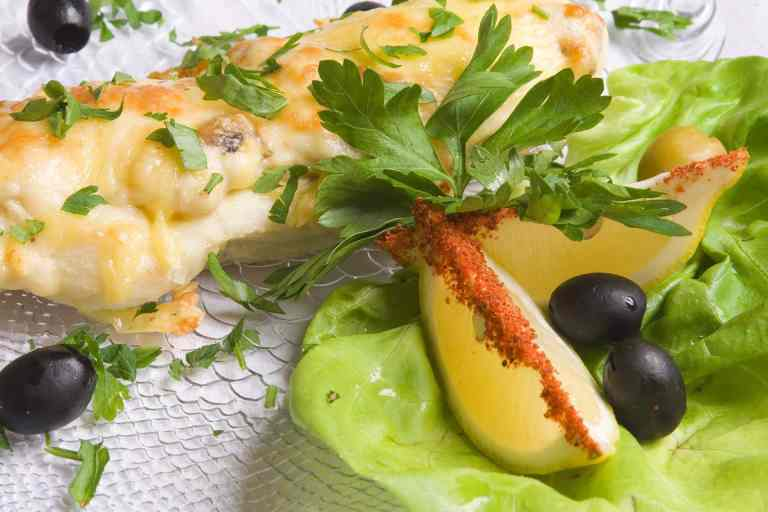 Crab Stuffed Halibut with Pears & Brie