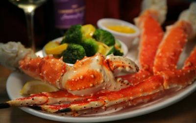 Steamed Alaskan King Crab with 3 Dipping Sauces