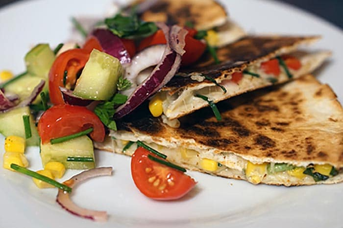 Grilled Chicken and Goat Cheese Quesadilla via @mermaidsandmojitos