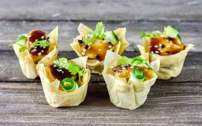 seared Ahi tuna wonton cups