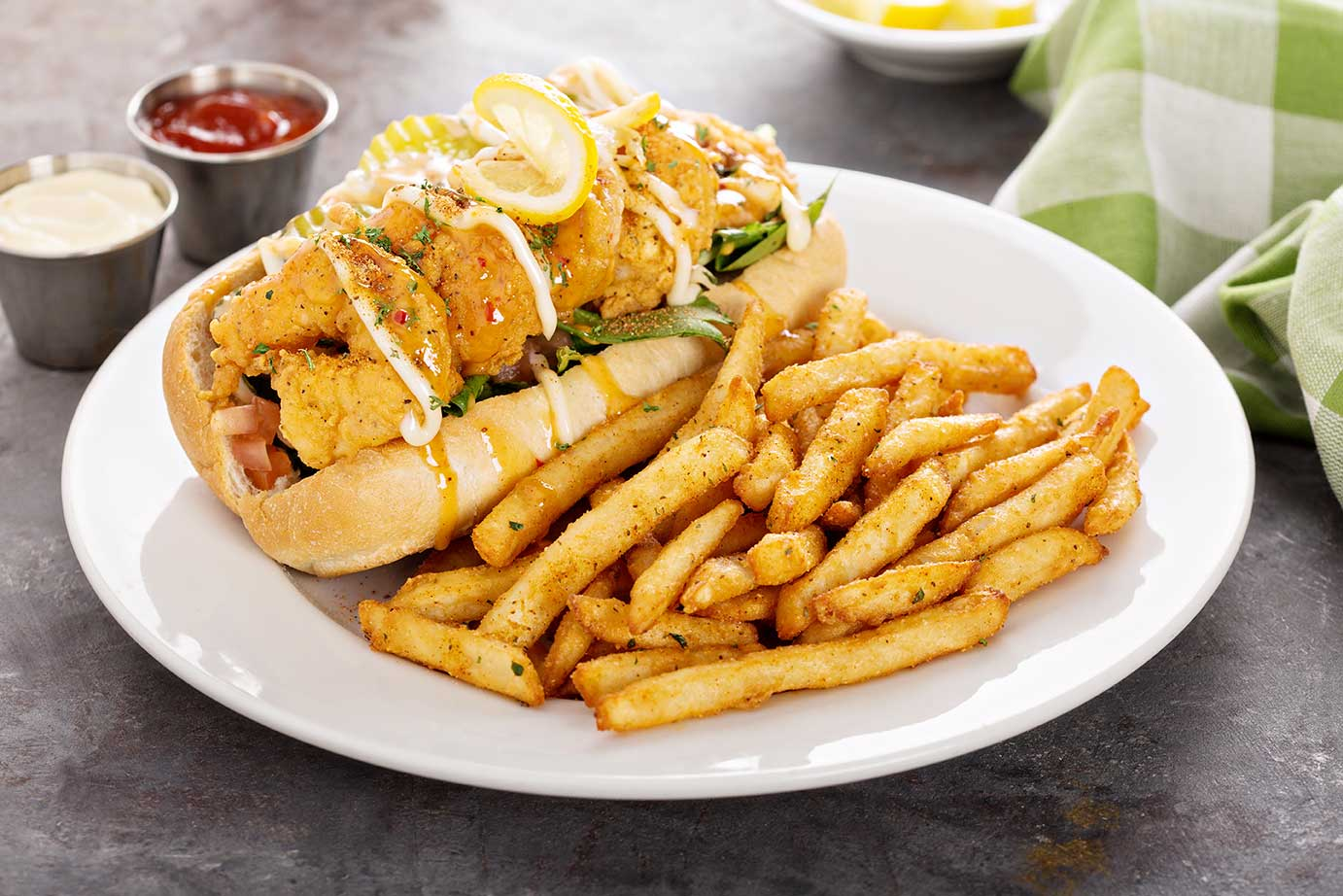 Fried Shrimp Po Boy With Creole Remoulade via @mermaidsandmojitos