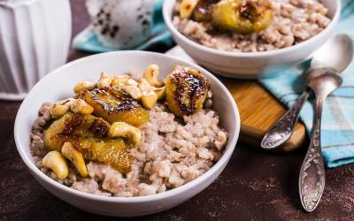 Coconut Rice with Curried Bananas and Cashews