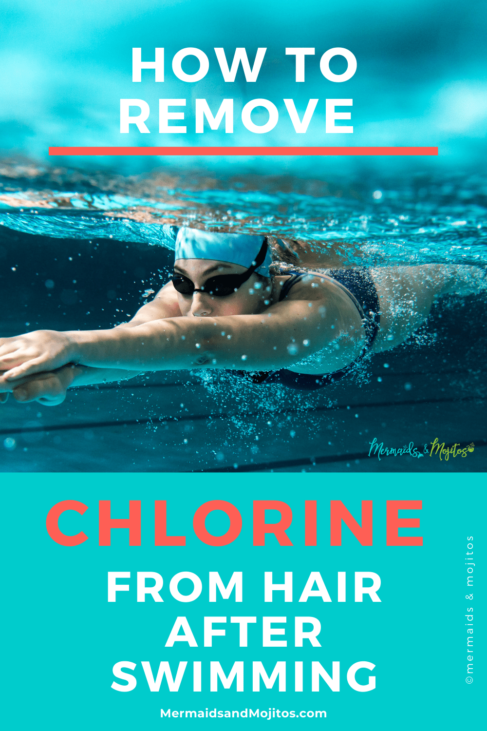 Easy DIY chlorine remover for hair. How to Remove Chlorine from Hair.  Learn how to quickly and easily remove chlorine from hair without spending a fortune on over-priced hair products that don't work. DIY chlorine-removing rinse. Say Goodbye to summer straw hair. via @mermaidsandmojitos