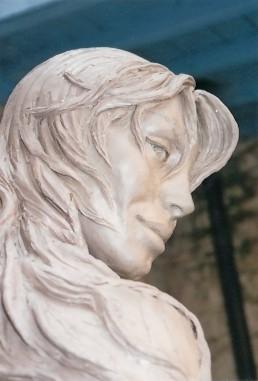 Face of 'Atlante' Mermaid Sculpture in Cannes.