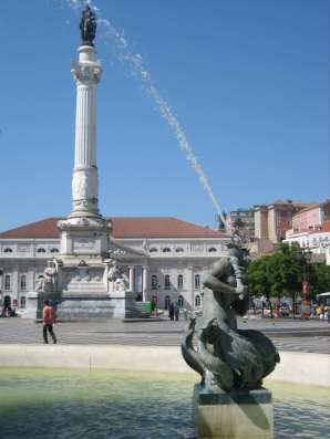 Mermaid Statue in the Rossio Square, Lisbon.