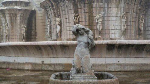 One of the Mermaid Statues at Fonte Luminosa in Lisbon.