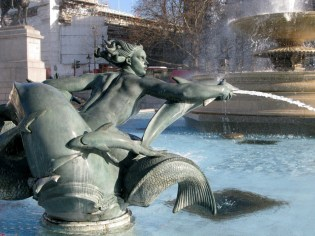 Trafalgar Square mermaid statue.