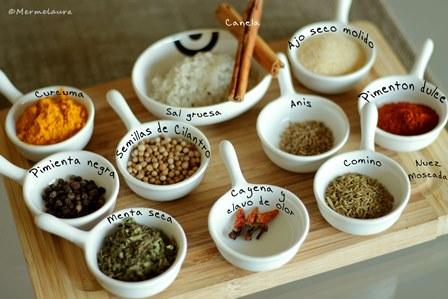 Ingredientes (a falta del orégano).
