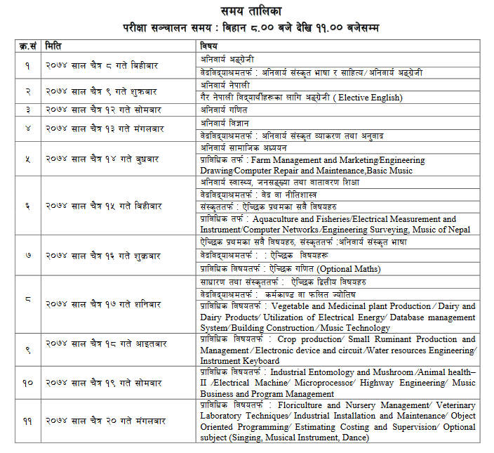 see exam routine time table 2074