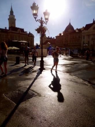 Novi Sad, walking in sunshine after rain