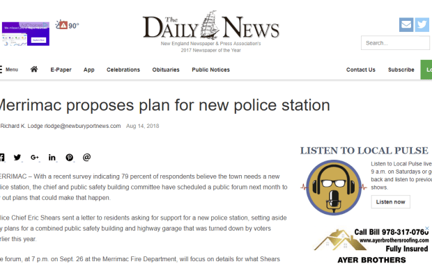 Merrimac proposes plan for new police station (Newburyport Daily News)