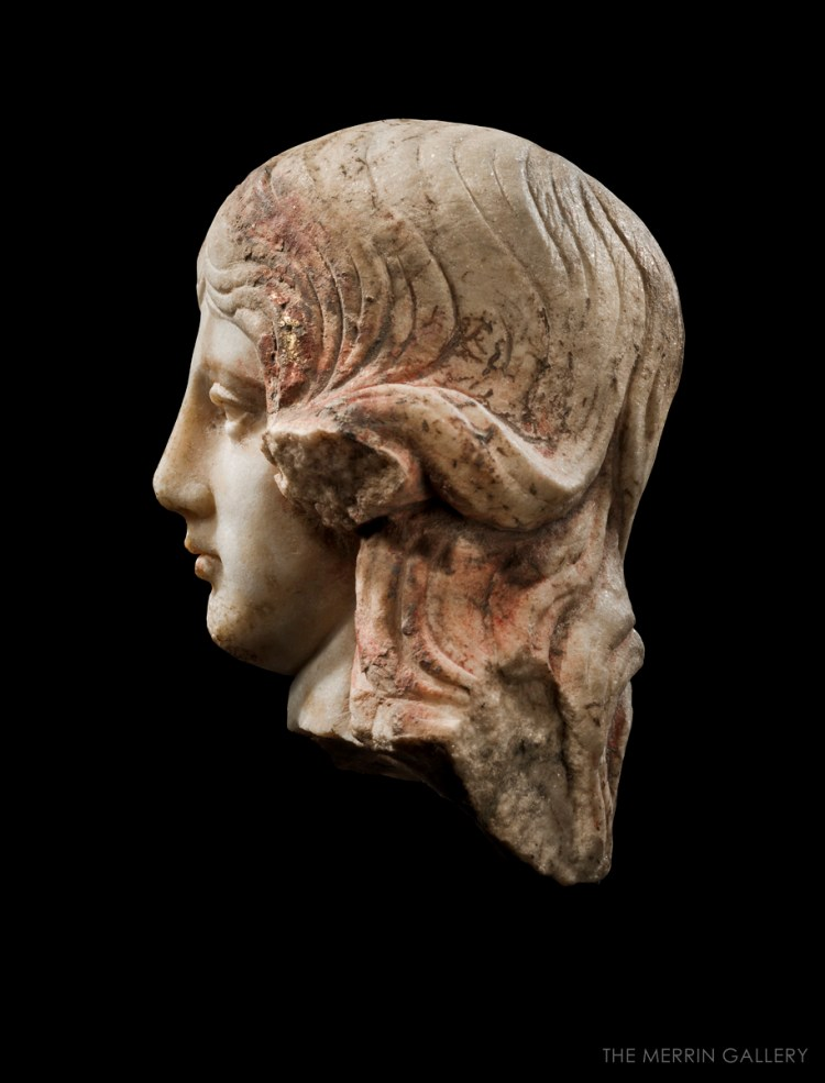 head of aphrodite anadyomene profile