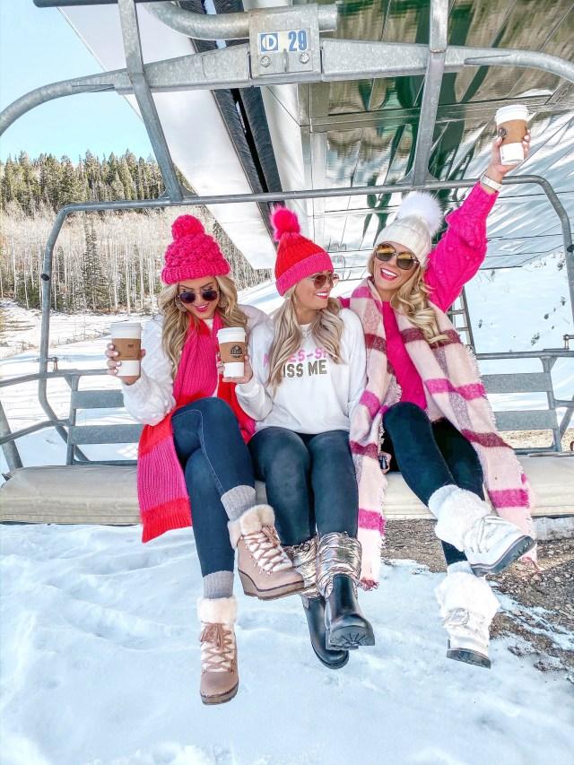 ski slope blogger pose