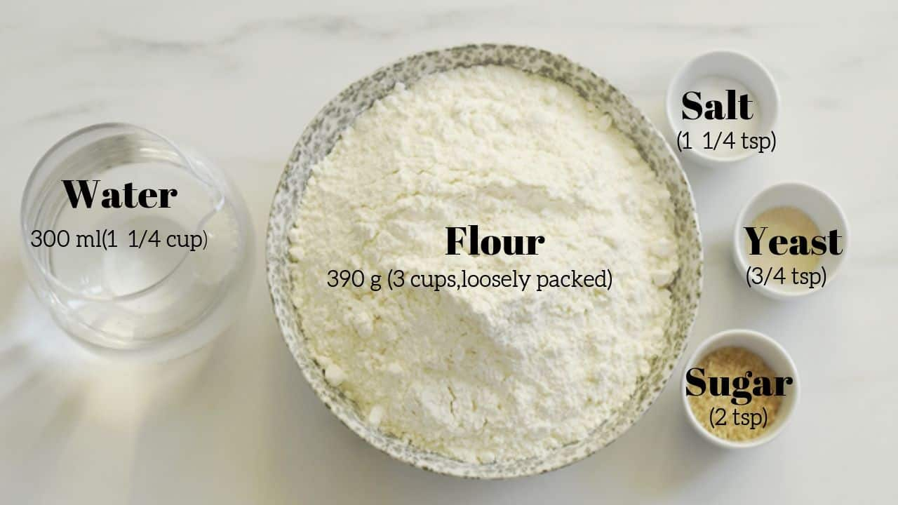 No knead bread ingredients