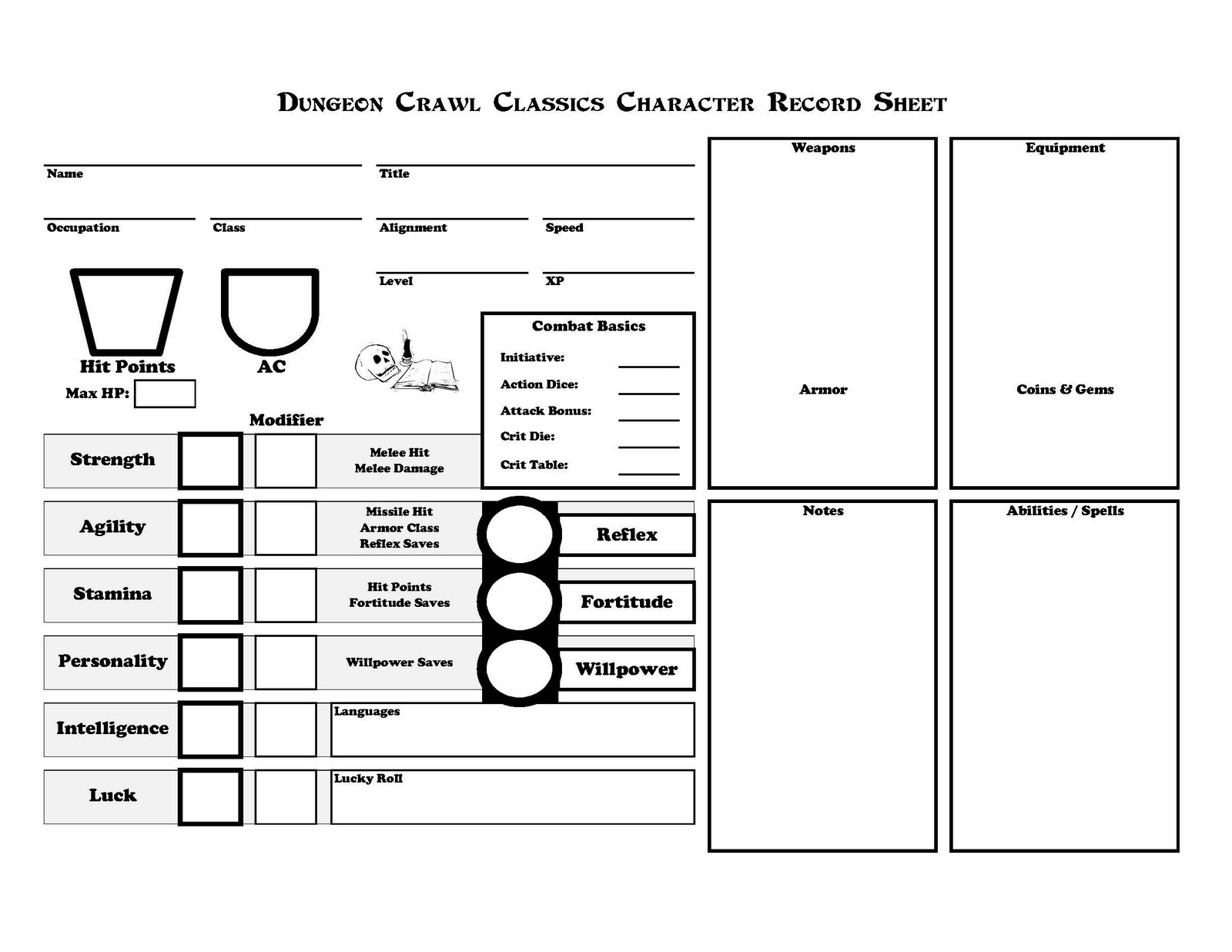 Rpg Character Sheet Template