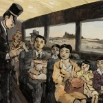 Freedom Train painting depicts Murakami family leaving Tule Lake concentration camp.