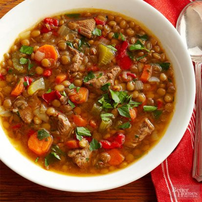Lentil Beef and Red Pepper Soup