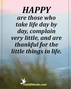 take Life Day by Day, be Happy and Thankful for the little things