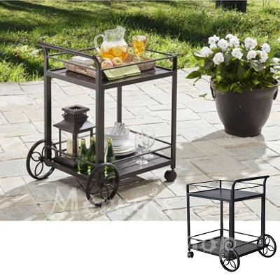 Outdoor Serving Cart Wheels Wicker Patio Pool Storage Rolling Bar Shelves  Tray