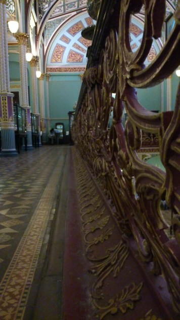 The carved banisters