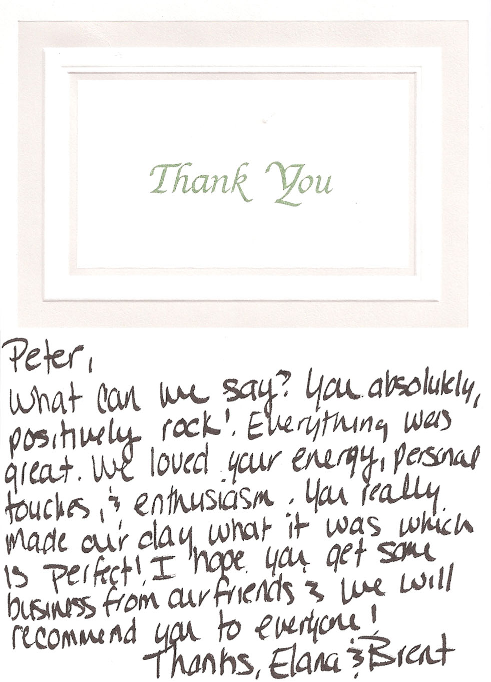 Brent & Elana's Thank You Card