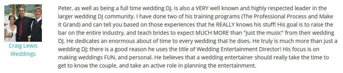 Craig Lewis WeddingWire Endorsement-Gleam